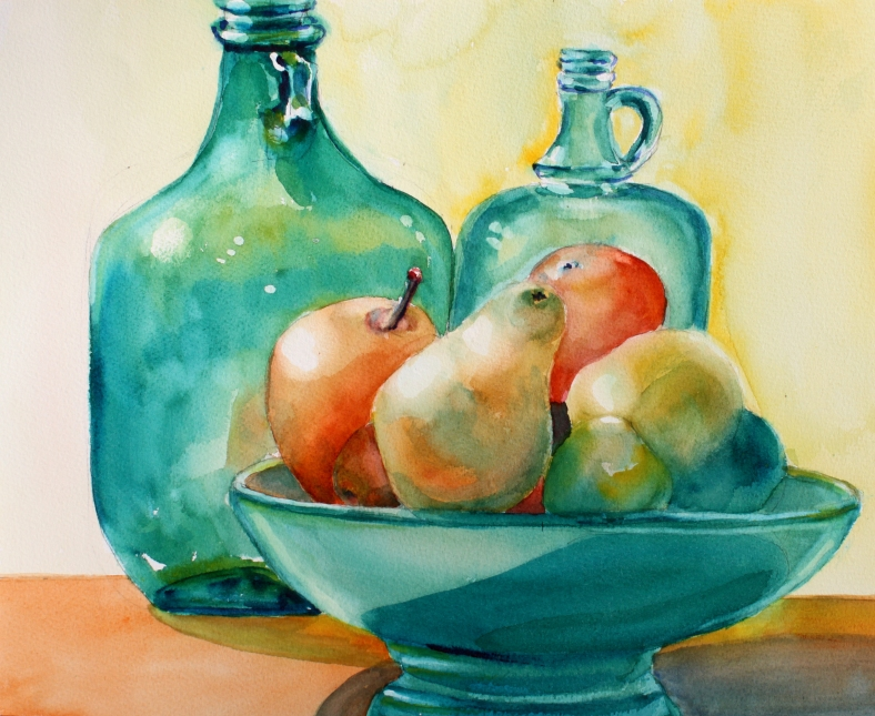 green-bottles-and-fruit-bowl
