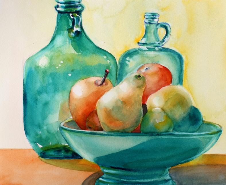 green-bottles-and-fruit-bowl