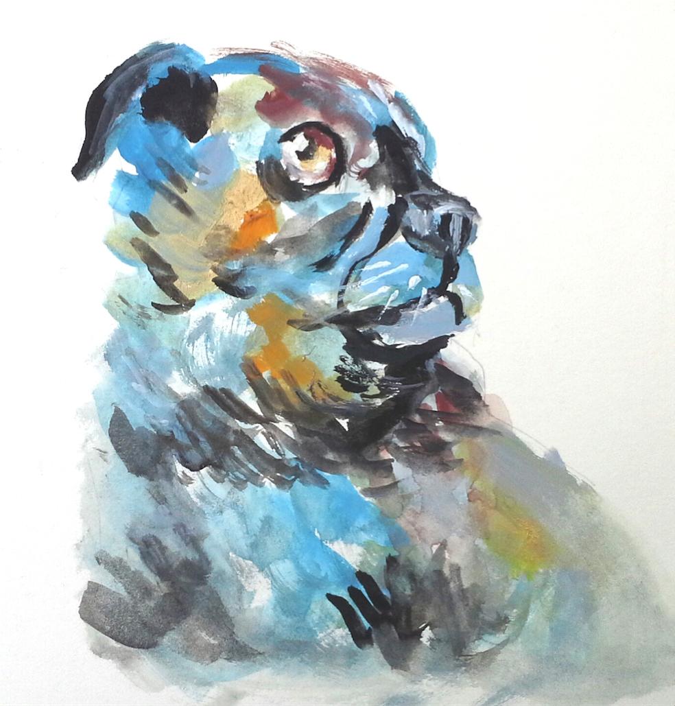 Gouache dog | Hobby Sketcher